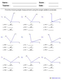 Geometry Worksheets   Angles Worksheets for Practice and Study...math-aids...wonderful website for math worksheets! Geometry Lessons, Teaching Geometry, Geometry Worksheets, Math Worksheets, Math Resources, Teaching Math, Math Lessons, Math Tutor, Math Teacher
