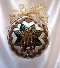 Victorian Folded Fabric Ornament Gold White Christmas Holiday Decoration Beaded Fringe. $25.00, via Etsy.