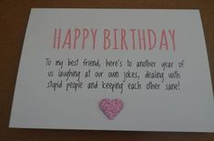 Birthday Quotes : Humourous Best Friend Birthday Card More Birthday Quotes QUOTATION – Image : As the quote says – Description Humourous Best Friend Birthday Card More. Best Friend Birthday Cards, Bff Birthday Gift, Bestfriend Birthday Ideas, Birthday Present Ideas For Best Friend, Birthday Presents, Birthday Quote For Friend, Birthday Card Quotes, Gift For Best Friend, Best Friend Book