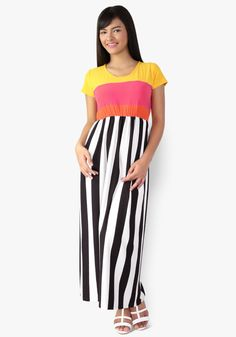 Appreciate the easiness and style of this tricolor top contrast stripe printed long dress. Spandex and cotton fabric, gartered waist. Let your classic beauty come out wearing this! Designer Party Dresses, Sunday Dress, Classic Beauty, Maternity Dresses, Stripe Print, Cotton Fabric, Contrast, Spandex, Printed