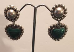 Vintage Sterling Silver Taxco Malachite Earrings Heart Flower Chunky 20 Grams  | eBay
