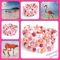 Flamingo! Moderne, mooie zelfgemaakte armbanden, glas parels, glas kralen , Memory wire, http://some-accessoires.nl