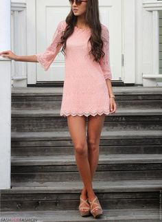pink lace mini dress, if only it was blue Cute Dresses, Beautiful Dresses, Casual Dresses, Fashion Dresses, Cute Outfits, Dresses With Sleeves, Summer Dresses, Fashion Clothes, Party Dresses