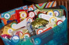 Someone forward this to my class parents! ABC gifts for teacher. Each kid in the class gets a letter to match a gift. Ex: G for gummy bears, M for movie ticket, etc. This is a cute idea for a class auction basket if we do that again this year. Teacher Gift Baskets, Teacher Treats, Great Teacher Gifts, Student Gifts, Cute Gifts, Basket Gift, Student Teacher, Class Teacher, Teacher Presents