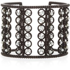 Nancy Newberg Oxidized Silver Diamond and Pearl Lace Cuff (58.476.035 IDR) ❤ liked on Polyvore featuring jewelry, bracelets, black, lace jewelry, pearl jewelry, pearl bangles, diamond jewelry and pearl diamond jewelry
