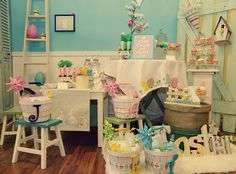 Shabby Chic Easter Party - Styled Shoot {Guest Feature} - Celebrations at Home Hoppy Easter, Easter Bunny, Easter Eggs, Shabby Chic Birthday, Bunny Tail, Easter Party, Easter Table, Bunny Party, Easter Gift