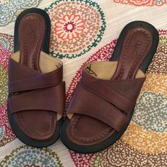 L. L. Bean Leather Sandals Made in Brazil, LL Bean slip on leather sandals. Non-slip sole, quality craftsmanship. NWOT from the factory store in Freeport. Logo and size info X'ed out. 7M L.L. Bean Shoes Sandals