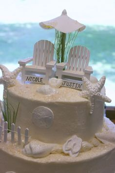 Beach / Nautical wedding / Vow renewal cake. With the chairs topper ...