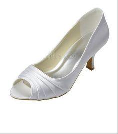 White Pleated Satin Peep Toe Bridal Wedding Shoes