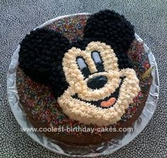 Homemade Mickey Mouse Cake: This homemade Mickey Mouse cake made for a 3 year old's birthday party.  Very easy and effective, you need a good couple of hours just to ice it though.