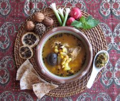 Abgoosht or Abghusht Persian Lamb soup with beans and chickpeas Classic Iranian winter food   by Fig & Quince (Persian food culture blog)