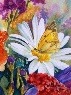 Could not stop painting this little butterfly on just the daisy...I love color so, I painted more flowers around her.
