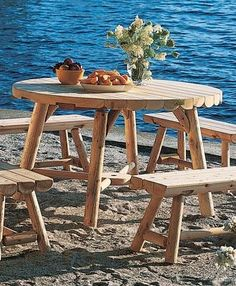 Baxter Table features 2 to 3thick half log tops, plus solid joints and bracing.