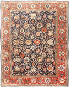 antique Persian rug from the legendary carpet looms of Tabriz