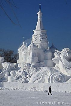 Photo about Snow Carving in winter Harbin China. Snow Sculptures, Metal Sculptures, Bronze Sculpture, Wood Sculpture, Winter Fun, Winter Snow, Snow Castle, Really Cool Photos, Ice Art