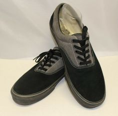 7fa14454b1 3683 Vans Men 13 Shoes Casual Sneakers Walking Leather Lace-Up Black Gray   fashion
