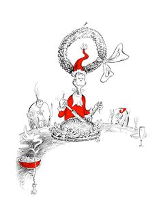 'how the grinch stole christmas' illustration, theodor