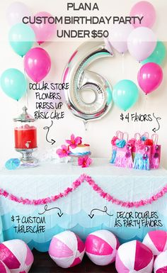 How to Throw a Custom Malibu Barbie Pool Party Birthday for Under $50