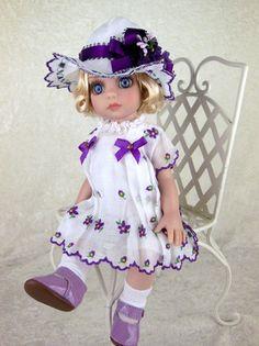 "Dress, Shoes, Hat fit Tonner Patsy, Ann Estelle, 10"" doll. LittleCharmersDollDes"