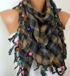 Multicolor  Scarf  Headband Necklace Cowl by fatwoman on Etsy, $17.00