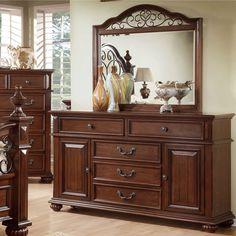 Furniture of America Barath 2-piece Antique Dark Oak Dresser and Mirror Set (Antique Dark Oak), Brown, Size 5-drawer