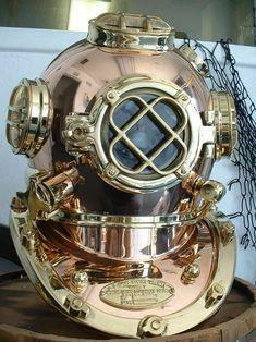Us Navy, Navy Marine, Royal Navy, Diving Helmet, Diving Suit, Jules Verne, Navy And Copper, Deep Sea Diver, Scuba Diving Equipment