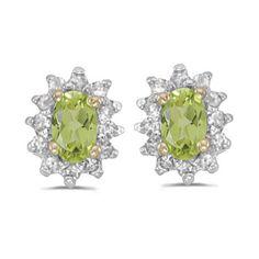 14k Yellow Gold August Birthstone Oval Peridot And Diamond Earrings