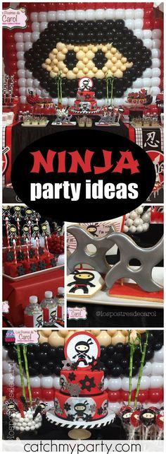 How cool is this amazing ninja boy birthday party! See more party ideas at Catchmyparty.com!