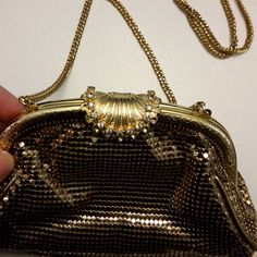 Vintage Whiting and Davis Gold Beaded Mesh Bag with Rhinestone Shell Clasp Beaded Clutch, Beaded Bags, Vintage Handbags, Gold Beads, Clutch Bag, Shells, Mesh, Michael Kors, Pattern