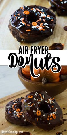 This is the perfect recipe to celebrate Halloween! Make these quick and easy air fryer donuts from refrigerator biscuits for a simple yet delicious dessert. These donuts are dipped in chocolate glaze and covered in sprinkles making them a fun dessert for kids to make and eat.