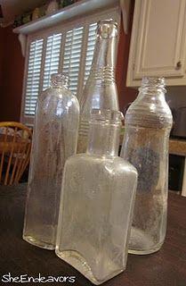 Clean old bottles with kosher salt, dishwashing liquid & a splash of warm water.
