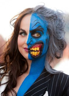 blue and yellow half face makeup. Follow our DIY makeup instructions for this makeup. http://www.fantasycostume.com/makeup-instructions