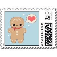 Cute gingerbread man Christmas stamps #kawaii #girly #xmas