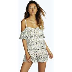 Boohoo Lottie Paisley Off The Shoulder Ruffle Playsuit ($14) ❤ liked on Polyvore featuring jumpsuits, rompers, white romper, romper, ruffle romper and ruffled rompers