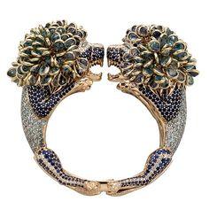 #Beautiful #color. Magnificent #design. #ZorabCreation #blue #green #gems #jewels #newluxuries #gold #bracelet #amazing #detail