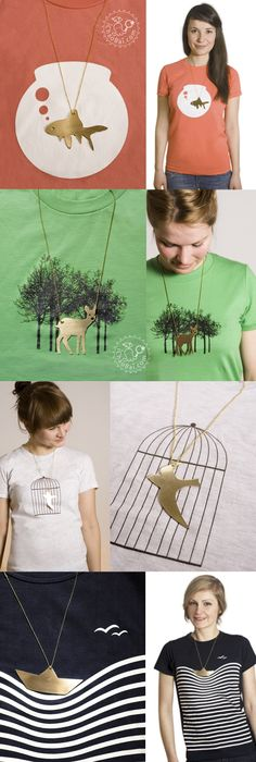 Animal Chain with T-Shirt by Luft und Liebe - Awsome Shirts - Ideas of Awsome Shirts - Animal Ch T Shirt Painting, Fabric Painting, T Shirt Designs, Diy Fashion, Fashion Design, Clever Diy, Tee Design, Necklace Designs, Refashion
