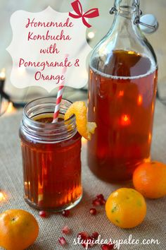 {NEW} Kombucha Recipes for the Holidays: Pomegranate Orange! Click here for the recipe --> http://stupideasypaleo.com/2013/11/27/kombucha-recipes-for-the-holiday-pomegranate-and-cranberry/ #kombucha #holiday #paleo #fermented