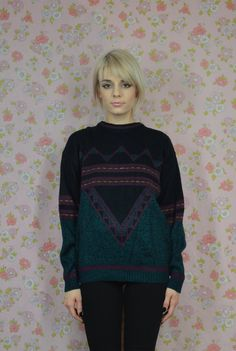 90s Geometic Sweater Triangle Cosby Sweater Soft by gothwave