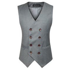 Nueva moda más tamaño doble botonadura corte ajustado Chaleco Hombre de algodón sin mangas Chaleco para Hombre traje de Chaleco Chaleco del vestido(China (Mainland))