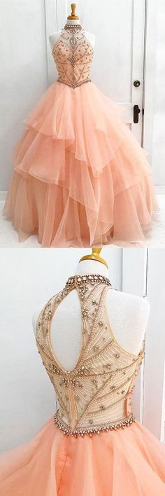 Ball Gown High Neck Orange Long Tulle Prom Dress with Beading PG521#prom #eveningdress #orange #tulle #longpromdresses
