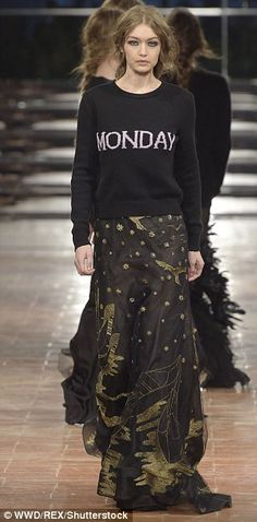 Mix and match: The model, who recently brought out a collection with American designer Tommy Hilfiger, proved she could rock a number of different styles in the modern knit, paired with a beaded black maxi skirt