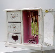 Shabby Chic Jewelry Box/Music Box Upcycled by WeeLambieVintage, $70.00