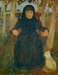 Paula Modersohn-Becker - German Expressionism - Old Woman outside in an armchair.
