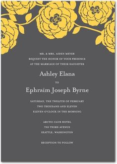 Slate or charcoal grey is a lovely back drop for yellow blooms - great for invites or bridesmaids dresses