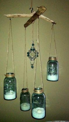 Hanging Driftwood Mason jar candles