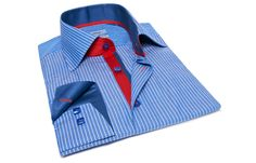 Blue and White Striped Shirt with Red & Blue Collar Linings, Dress Shirts for Men at French-Shirts.com