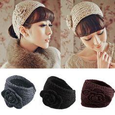 Beleza de alta qualidade da moda inverno 13 cores flor Crochet Knit malha Headwrap Headband Ear Warmer cabelo Muffs banda em Acessórios Para o cabelo de Das mulheres Roupas & Acessórios no AliExpress.com | Alibaba Group
