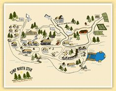 camp map illustration- for Will's camp room
