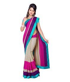Cream Pink Sari