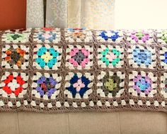 Free Crochet Granny Square Blanket Pattern on Petals to Picots